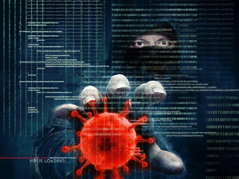 Pirata informatico e virus informatico - concetto fotografia stock