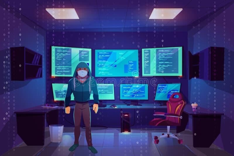 Pirata informatico nella stanza del server, monitor multipli del computer royalty illustrazione gratis