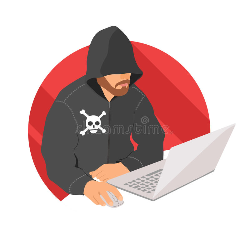 Pirata informatico sull'icona del computer portatile, segno criminale di web piano di progettazione, illustrazione di vettore illustrazione vettoriale