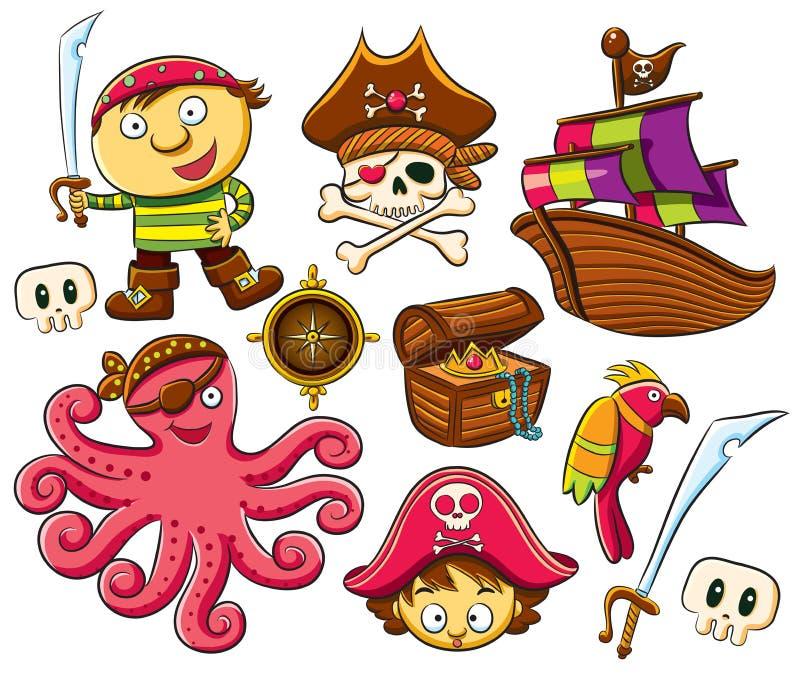 pirata inkasowy set ilustracja wektor