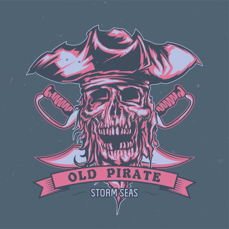 Pirata inoperante ilustrado no chapéu ilustração royalty free