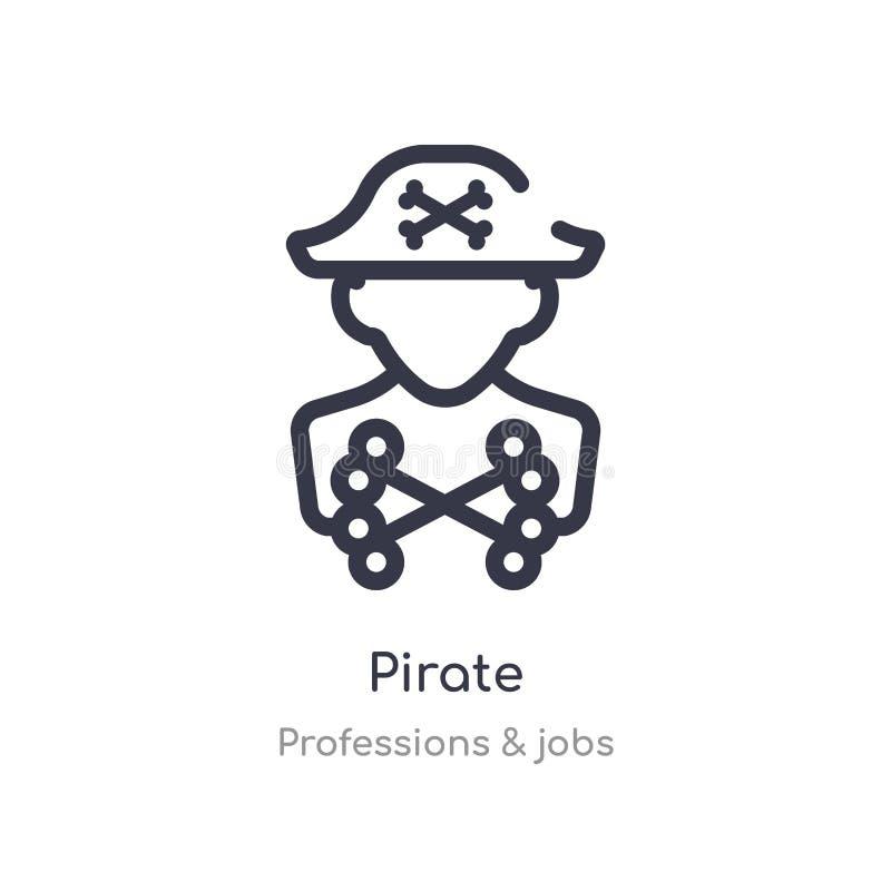 pirata konturu ikona odosobniona kreskowa wektorowa ilustracja od zawod?w & prac inkasowych editable cienka uderzenie pirata ikon ilustracji