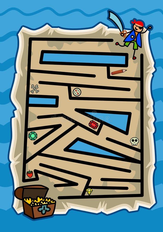 Pirata Maze Game do mapa do tesouro ilustração royalty free