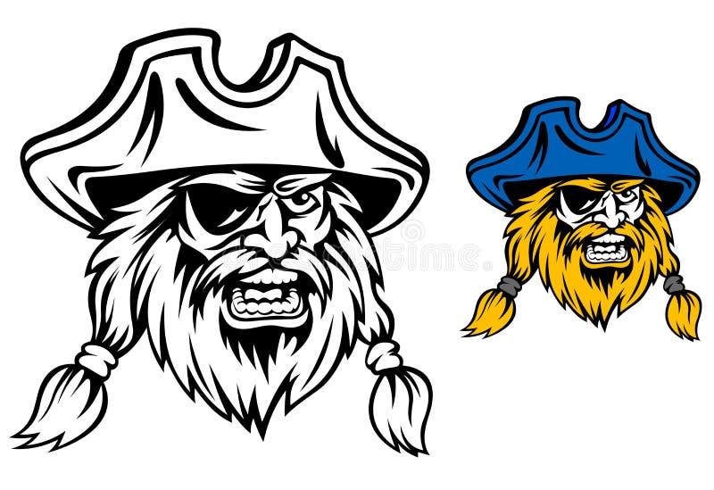 Pirata medieval ilustración del vector