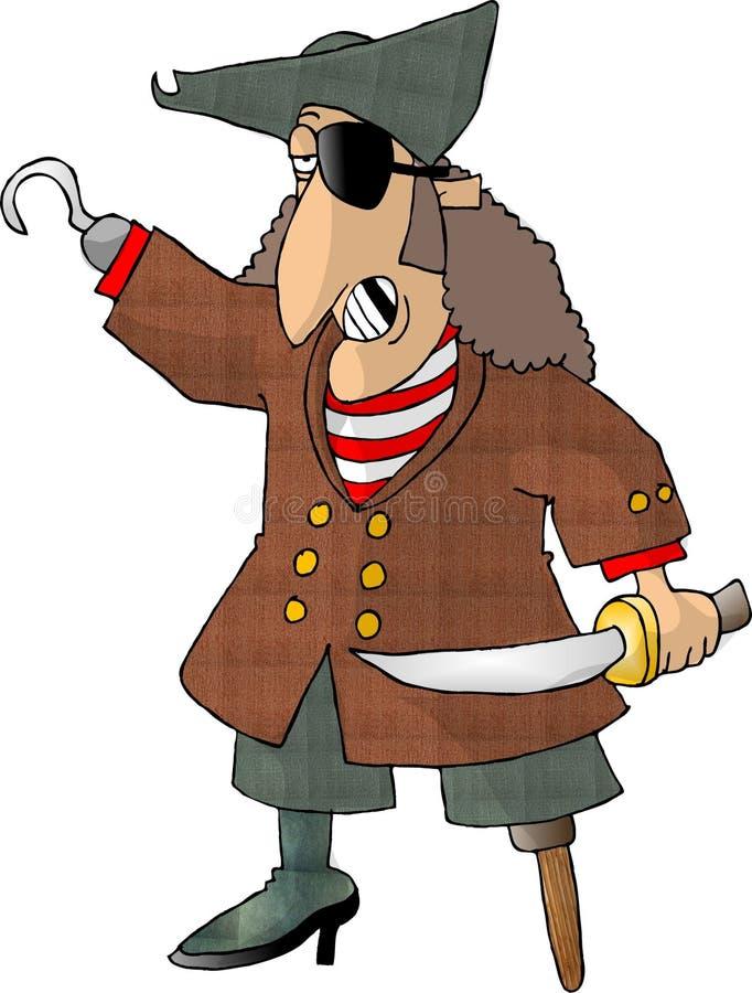 Pirata mezzo illustrazione di stock