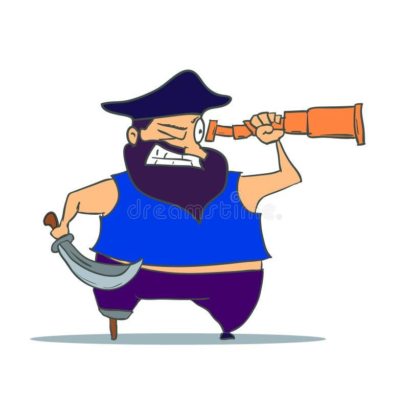 Pirata monco di una gamba del fumetto con il cannocchiale Vettore illustrazione di stock