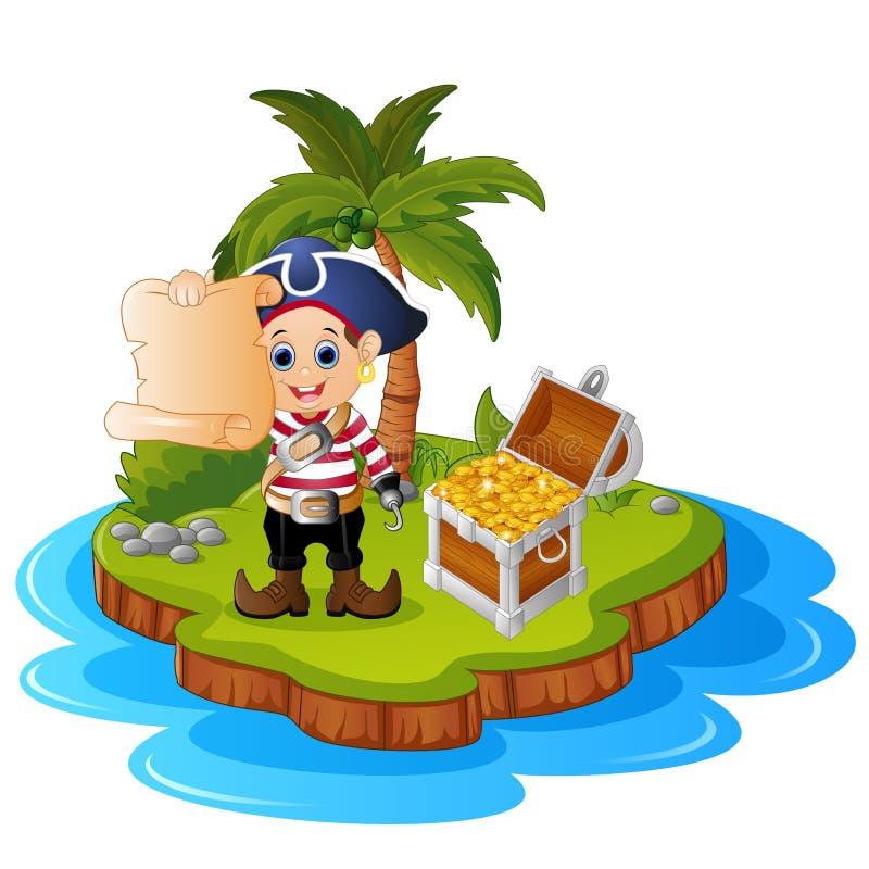 Pirata nell'isola del tesoro royalty illustrazione gratis