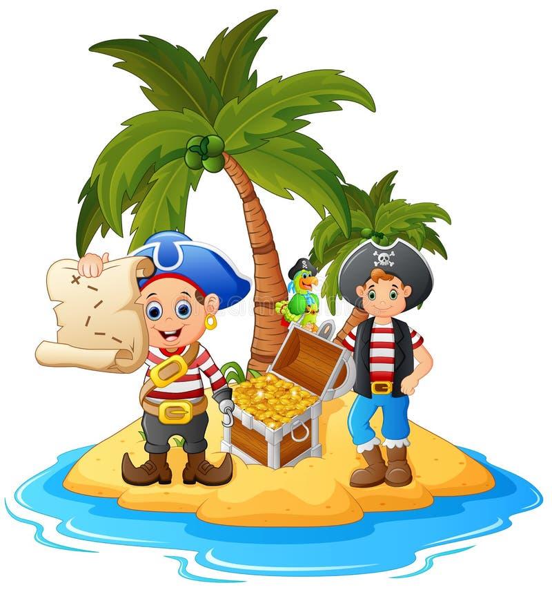 Pirata nell'isola del tesoro illustrazione di stock