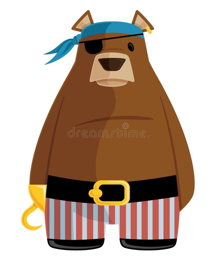 Pirata niedźwiedzia koloru Wektorowej grafiki kreskówki Płaska ilustracja royalty ilustracja