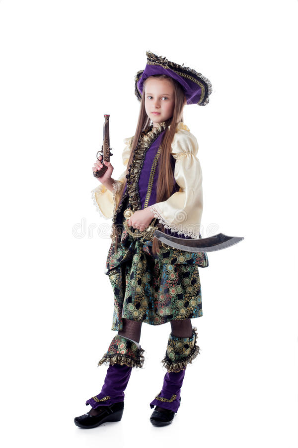 Pirata pequeno orgulhoso isolado no contexto branco imagens de stock