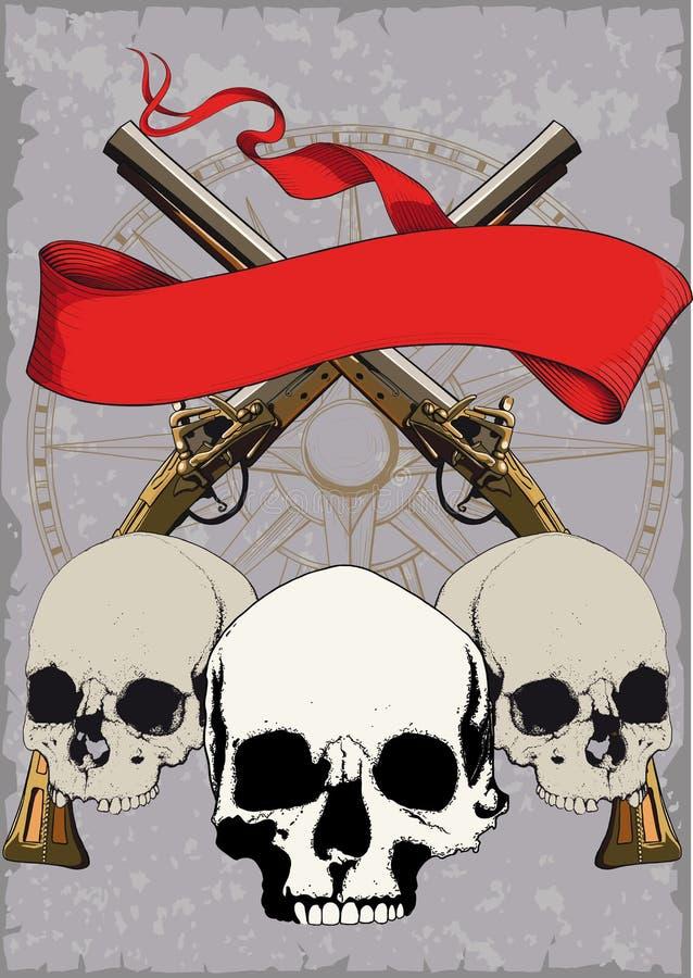 Pirata plakat z czaszkami royalty ilustracja
