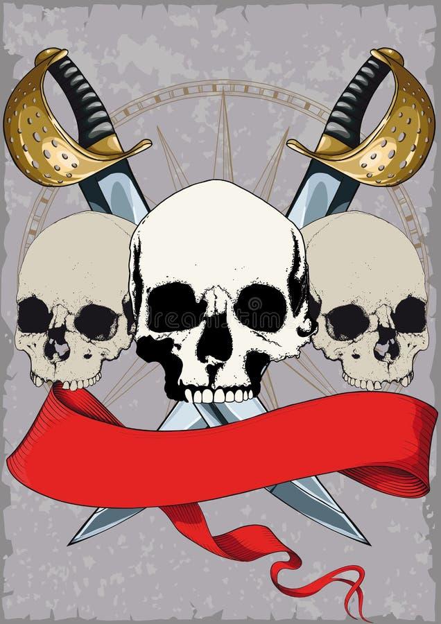 Pirata plakat z czaszkami ilustracji
