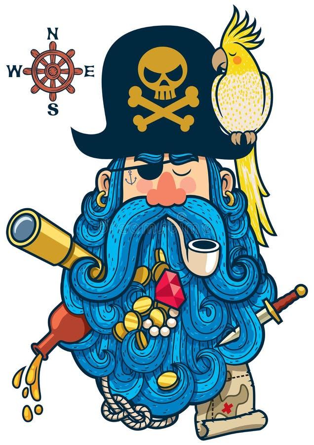 Pirata portret royalty ilustracja