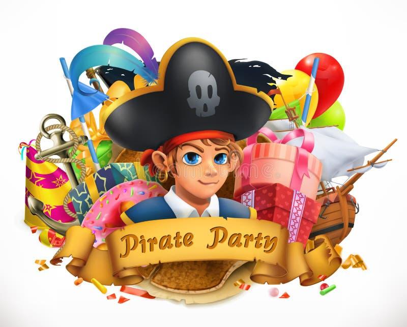 Pirata przyjęcie Dziecko wakacyjny wektorowy emblemat ilustracja wektor