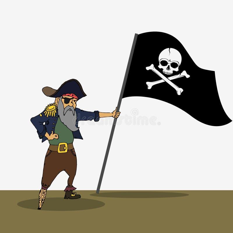 Pirata que guarda a bandeira com crânio ilustração royalty free