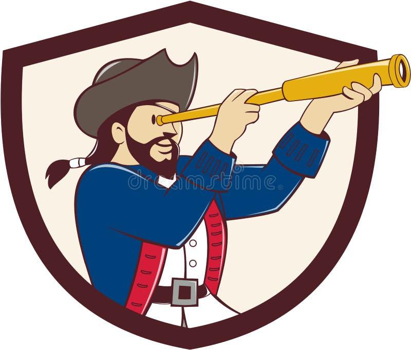 Pirata que olha desenhos animados da crista do telescópio pequeno ilustração stock