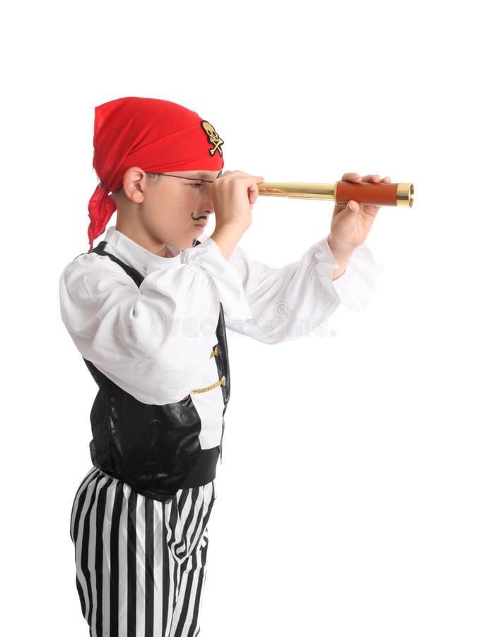 Pirata que procurara usando um espaço da mancha imagens de stock