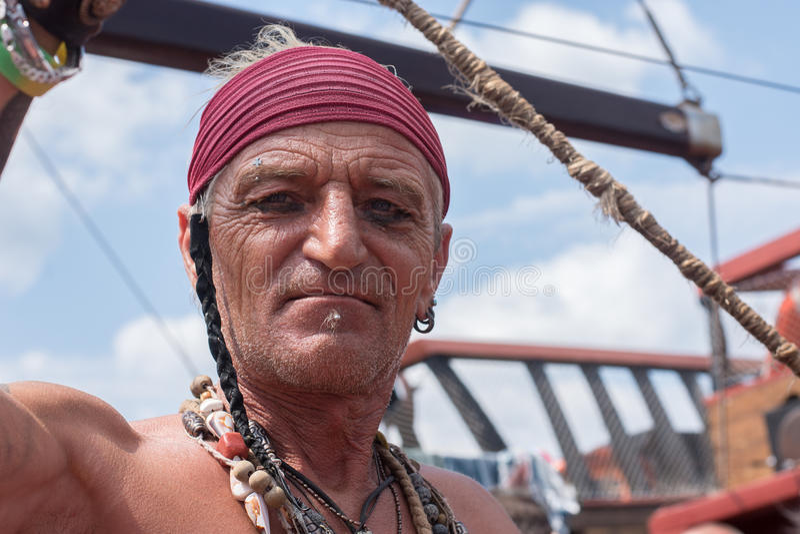 pirata Retrato del viejo hombre imagen de archivo