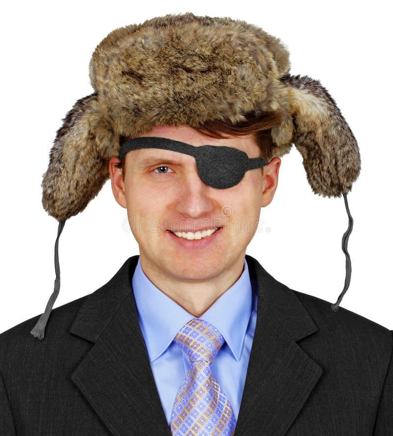 Pirata ruso en el asunto - aislado en el fondo blanco imagenes de archivo