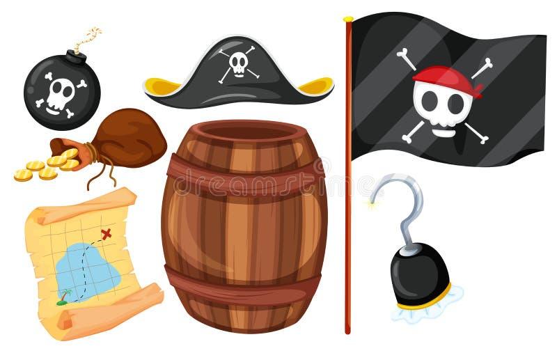 Pirata set z flaga i broniami royalty ilustracja