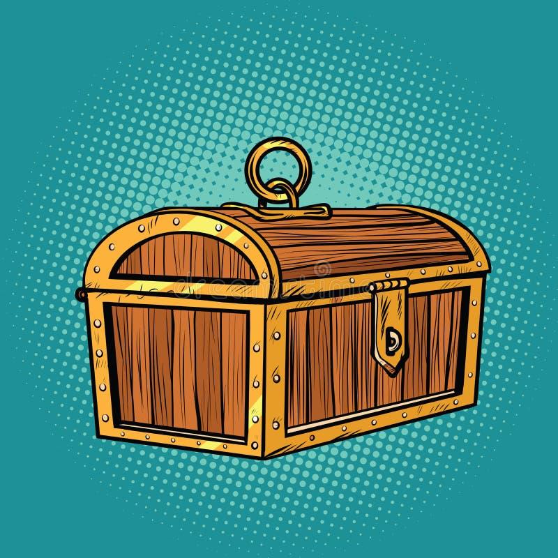 Pirata skarbu drewniana klatka piersiowa zamykająca royalty ilustracja