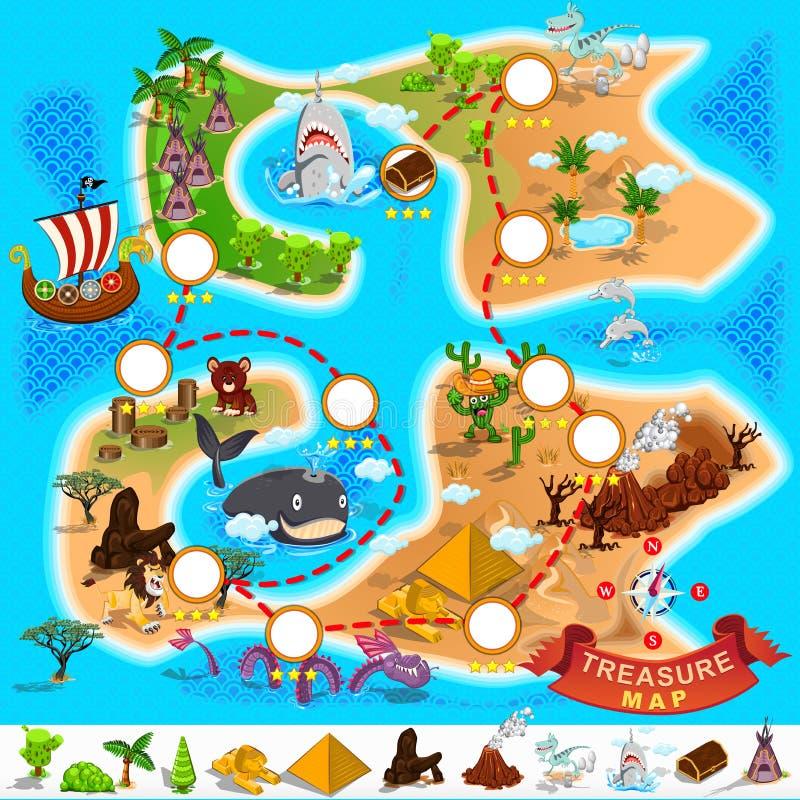 Pirata skarbu mapa ilustracji