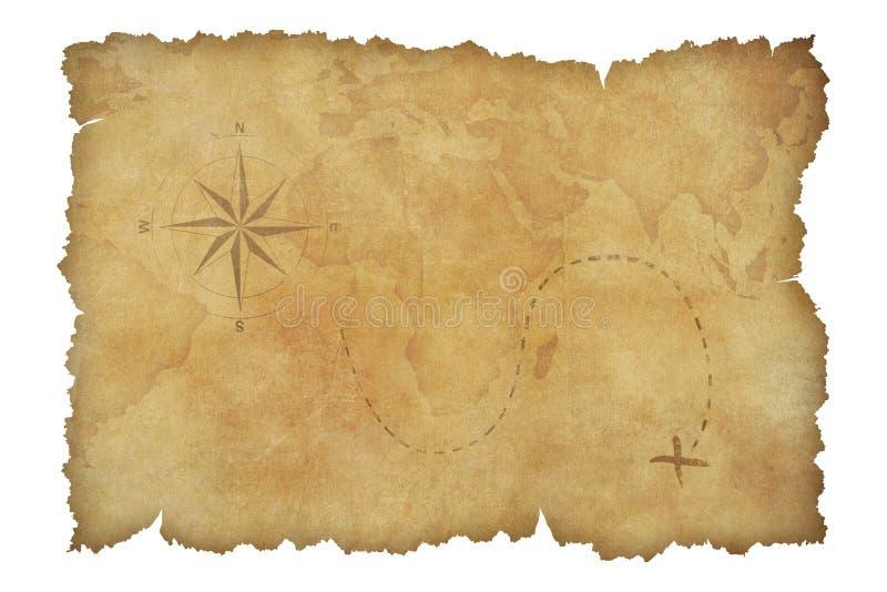 Pirata skarbu pergaminowa mapa odizolowywająca z