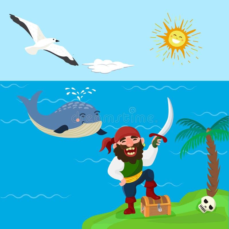Pirata skarbu przygody wektorowych dennych nautycznych symboli/lów charakteru kapitanu nautyczny żeglarz z kordzik biżuterią kors ilustracji