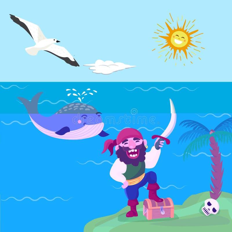 Pirata skarbu przygody wektorowych dennych nautycznych symboli/lów charakteru kapitanu nautyczny żeglarz z kordzik biżuterią kors royalty ilustracja