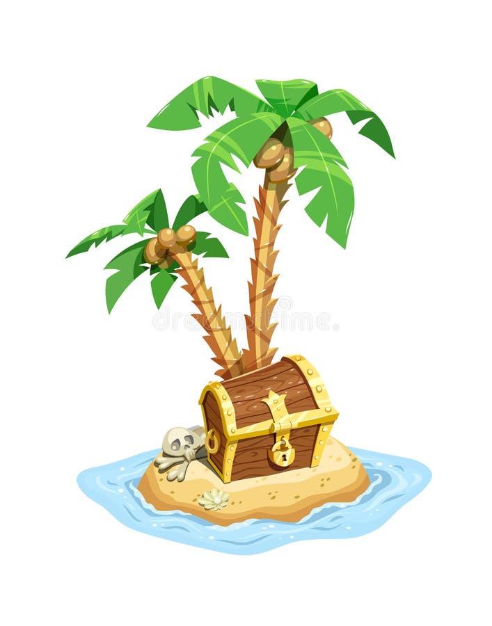 Pirata skarbu wyspa z klatką piersiową i palmami royalty ilustracja