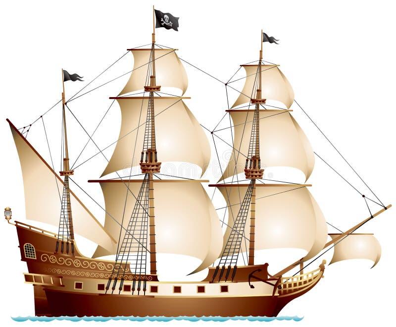 Pirata statek royalty ilustracja