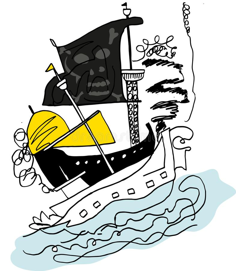 Pirata statek atakuje royalty ilustracja