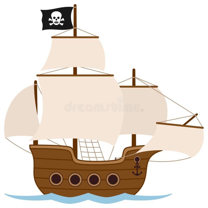 Pirata statek lub żeglowanie łódź ilustracja wektor
