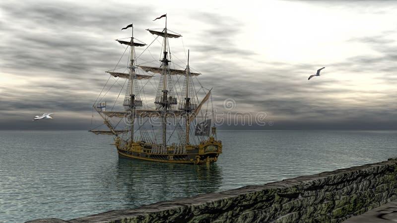 Pirata statek na spokój wody 3d renderingu royalty ilustracja