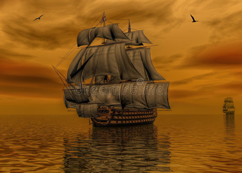 Pirata statek na spokój wody 3d renderingu ilustracji