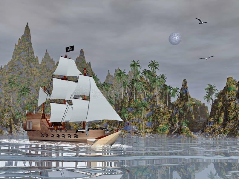 Pirata statek nocą - 3D odpłacają się ilustracja wektor