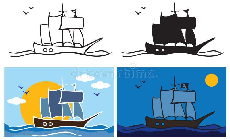 Pirata statek przy nocą royalty ilustracja