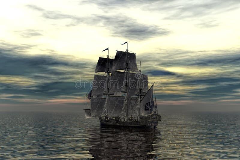 Pirata statek w zmierzch scenie ilustracja 3 d ilustracji