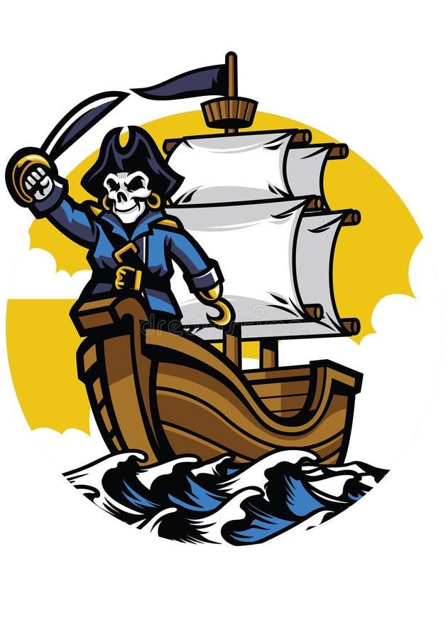 Pirata statek z pirat czaszką royalty ilustracja