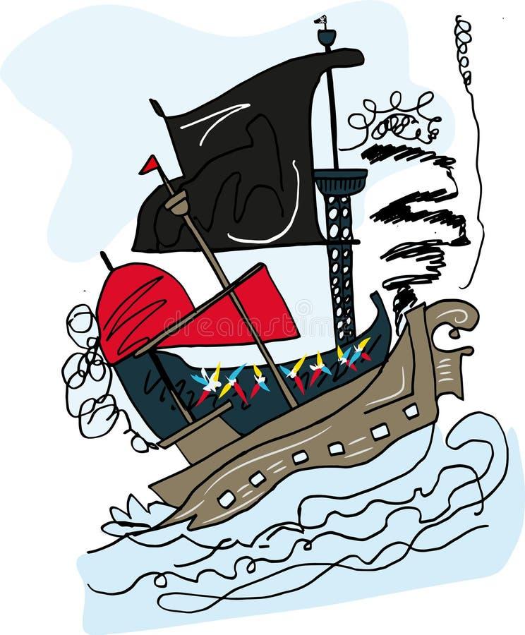 Pirata statku bój royalty ilustracja