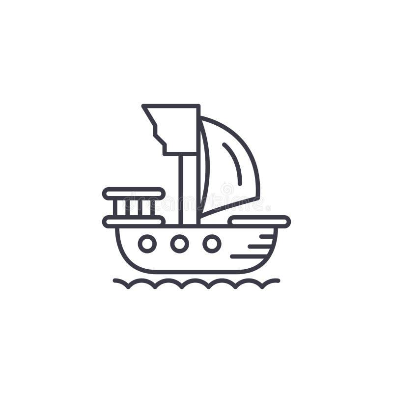 Pirata statku ikony liniowy pojęcie Pirata statku linii wektoru znak, symbol, ilustracja royalty ilustracja
