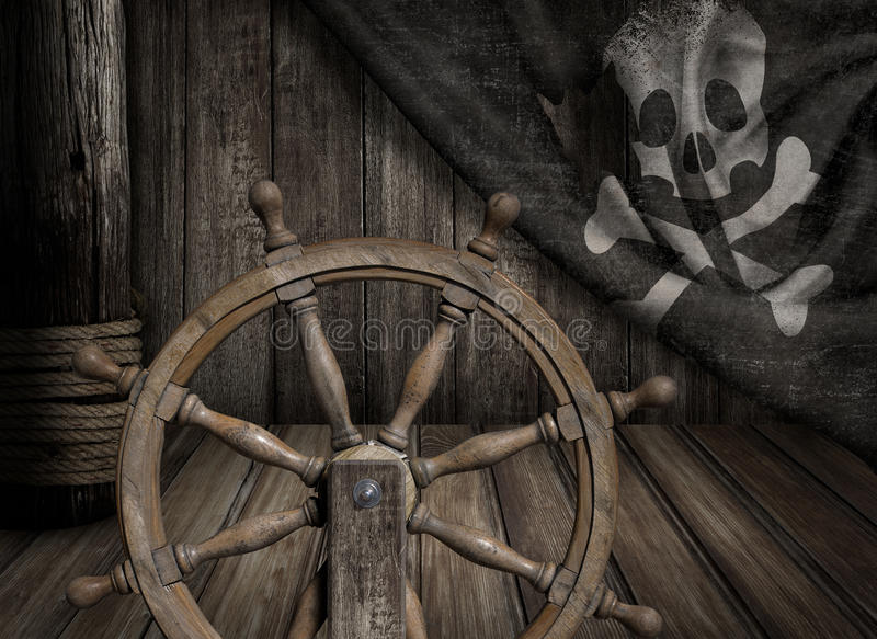 Pirata statku kierownica z starym byczym Roger obrazy royalty free