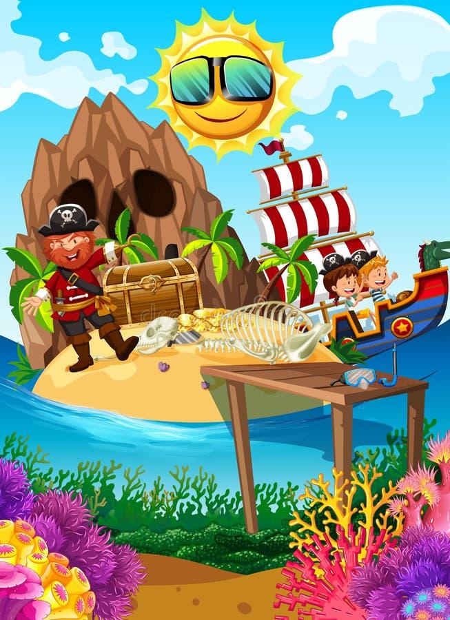 Pirata su un'isola con il tesoro royalty illustrazione gratis