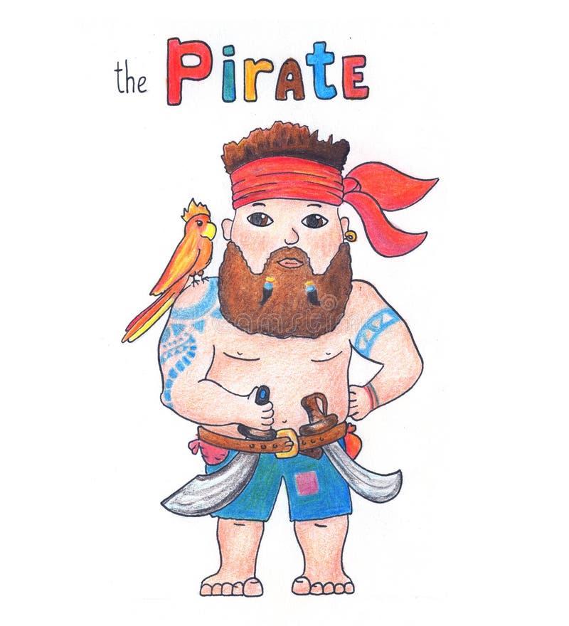 Pirata sveglio con il pappagallo su fondo bianco Illustrazione disegnata a mano del pirata adorabile con le matite di colore illustrazione vettoriale