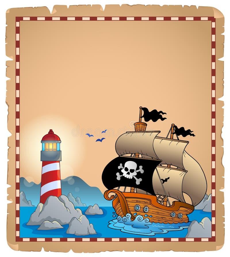 Pirata tematu pergamin 3 ilustracji