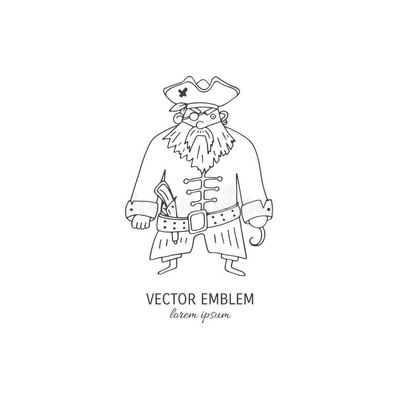 Pirata tirado mão dos desenhos animados ilustração royalty free
