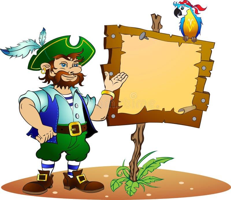 Pirata y loro stock de ilustración