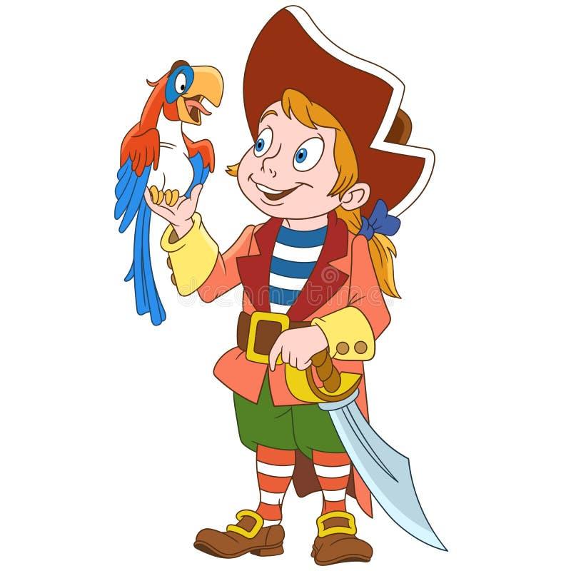 Pirata y loro de la historieta ilustración del vector