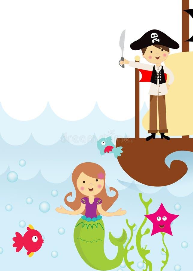 Pirata y sirena en el mar stock de ilustración