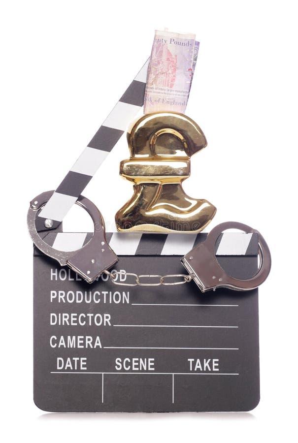 Pirataria no dinheiro do cálculo de gastos do industria do cinema fotografia de stock royalty free